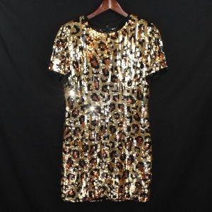 Vintage Sequin leopard / cheetah cocktail dress